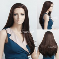 Fashion Girls Women Front lace wig Synthetic hair Long Straight Dark Brown Lace Front wig Wholesale Price ladies wig for Sale