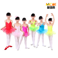 free shipping Child ballet skirt tulle dress spaghetti strap dance dress fitness clothing performance wear leotard costume