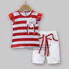 Kids Clothing Set For Girls Red And White Striped Top With White Flowers  Pants With Bow Girls Summer Clothing Suit CS30828-3