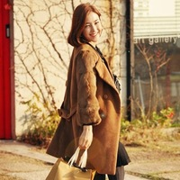 Women's elegant fashion fur rabbit fur patchwork double breasted woolen outerwear