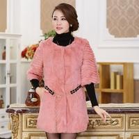 2013 women's o-neck fur coat medium-long fashion elegant elegant