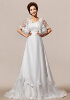 A-Line Scoop Sweep Train  Floor-Length Chiffon Satin Wedding Dress With Lace DJWD2