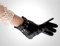 Elegant women's fashion rivet gloves winter really sheepskin leather gloves motorcycle gloves fur free shipping 15 women
