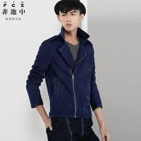 free shipping Fashion 2013 men's clothing casual elegant turn-down collar knitted denim jacket 54130030