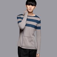 free shipping Fashion autumn men's clothing slim o-neck sweater color block decoration male 24260003