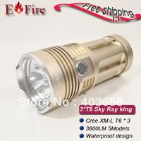 HOT Sky Ray King Flashlight CREE XM-L 3*T6 Flashlight 3800-lumens water proof design