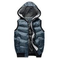 winter new designer fashion waistcoat cotton sleeveless men's hooded vest gray blue black 2013