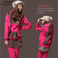 New arrival 2013 winter women casual set sportswear plus size velvet thickening sweatshirt 3piece/set