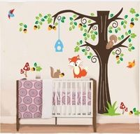 free shipping Forest Animals fox squirrel mushroom big tree cartoon wall stickers for kids nursery school