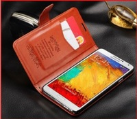 Free Shipping Luxury Retro Flip Wallet Card Holder Stand Bling Genuine Leather Cases Cover For Samsung Galaxy Note 3 N9000 Purse