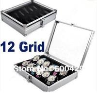 12pcs/lot New Jewelry 12 Grid Slots Watches Display Storage Box Case Aluminium Square Free Shipping