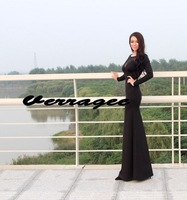 Verragee 2013 Autumn And Winter Women New Arrival  Vintage Long sleeve Hollow Out Patchwork Fishtail Long Black Dress