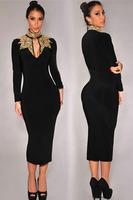 Feminine attractiveness Hybrid Peplum Bodycon Midi  Dress with Lace Insert and Panel Top New 2014 Sweetheart Neckline vestidos