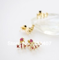 Free shipping earring- fashion women's accessory rhinestone stud earring kiss 1-3