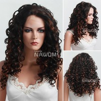 Hot selling black mixed red euramerican curly synthetic lace front wig High quality heat resistant fiber medium long fluffy wigs