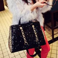 messenger   leopard print paillette  chain  cosmetic bag shoulder bag handbag female bags large bags women messenger