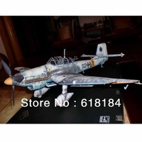 Free shipment Paper Model airplane 43cm Wingspan 1:33 World War II German Ju-87 D-3 Stuka Dive Bomber  military craft 3d puzzles