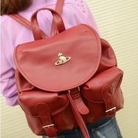 Women's handbag oil leather vintage fashion preppy style small double sided one shoulder fashion handbag women's backpacks