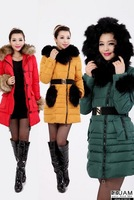 2013 new womens fur collar down cotton  parkas knee long coat winter clothing plus size big size L-3XL jixiang