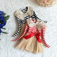 Children tulle striped dress,fall children clothing baby girls long sleeve dresses Girls bow tutu dress princess dress 4pcs/lot