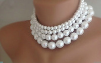 FREE SHIPPING NEW WOMEN FOUR LAYERS WHITE IMITATION PEARLS NECKLACE JEWELRY