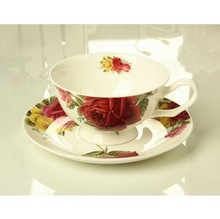 sales alone or wholesales Chinese style gift Bond china coffee cup set elegant tea glass porcelain