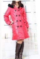 2013  Women's New Hot Sale Vogue Double-breasted Fur Collar Hooded Pockets Long Coat Red/Green LH13092503