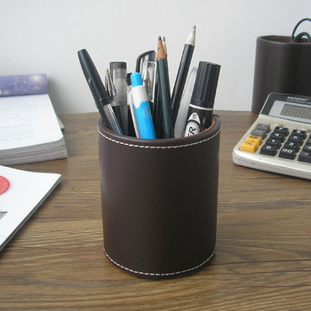 round leather pen pencil box case desk stationery organizer holder office accessories brown 2040