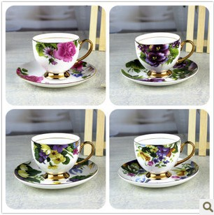 sales alone or wholesales Chinese style gift Bond china coffee cup set elegant tea glass porcelain saucer ceramic coffee cup(China (Mainland))
