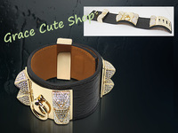 Free Shipping Punk Style Leather Bangles Luxury Crystal Bangles Top Quality Package (Dust Bag,Gift Box ) #HB156-Black