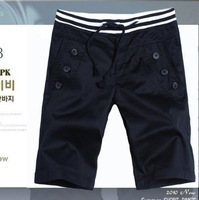 2013 New Korean Men's Buttons Embellished Pocket Design Half Pant Grey/Black LF13090105