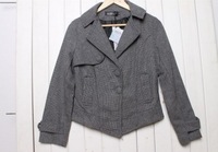 2013 New Women's Promotional Lapel Collar Single Breast Pockets Embellished Short Coat Grey LF13062603