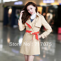 Color block 2013 trench outerwear ol elegant double breasted lacing medium-long plus size clothing overcoat female
