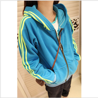 New fashion women's clothing neon strip hooded zipper plus velvet sweatshirt outerwear 4 colors