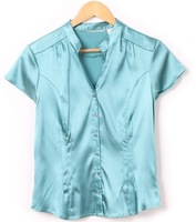 2013 New Arrival Korea Plus Size Pure Color V Neck Short Sleeve Blouse Blue/Purple/Grey/Black GX13062304
