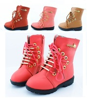2012 child winter martin boots vintage waterproof female child knee-high children boots snow boots cotton-padded shoes children