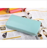 Free shipping small lattice wallet in the long section Ms. candy-colored patent leather wallet embossed