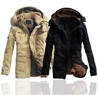 Free shipping 2013 hot sale winter men thick warm long cotton overcoat men wadded jacket with hooded NTHS-007