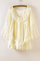 2014 autumn sweet lace peter pan collar long-sleeve irregular  flock printing polka dot chiffon one-piece dress