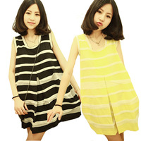 saia chiffon 2013 summer casual plus size o-neck loose chiffon dress doll stripe sleeveless one-piece dress