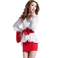 saia chiffon 2013 autumn women's tight slim hip sexy V-neck slim long-sleeve chiffon one-piece dress  aia shorts womens feminina