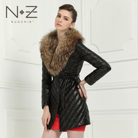 Nuozhi8 deg . large fur collar leather down coat medium-long female genuine leather sheepskin leather clothing outerwear