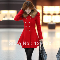 2013 women's woolen outerwear slim medium-long fur collar double breasted woolen overcoat female