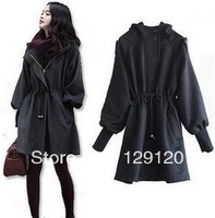 New arrival 2013 autumn and winter plus size clothing wool coat puff sleeve woolen outerwear overcoat