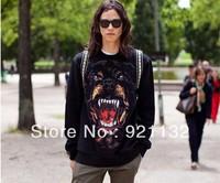 Free Shipping Cool Punk Style Super Stars Same Item Dog Print Unisex  Lovers' Long Sleeve High Street Sweatshirt Coat Black