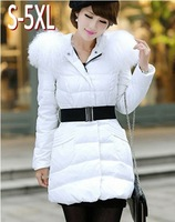 Thickening Mongolian Fur Collar Down Coat  2013 New Winter Women's Medium-long Down Jacket Outerwear Plus Size Big 5XL AW13J024