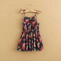 korean children clothing summer fashion dresses lace princess dress amber flowers suspenders teenage girls floral vest dress