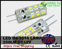 50pcs Cree LED Spotlight bulb light lamp G4 2W LED 3014SMD 12V 24leds High Power CE ROHS Fast Arrive