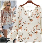 Freeshipping New2013 Fashion Ladies' elegant floral print blouse V-neck casual vintage shirt slim brand designer tops gift