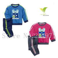 Free shipping,2Pcs Monster University Pattern Long Sleeve Cotton T shirt + Pants Kids Sport Wear Children Clothing Set,5sets/lot
